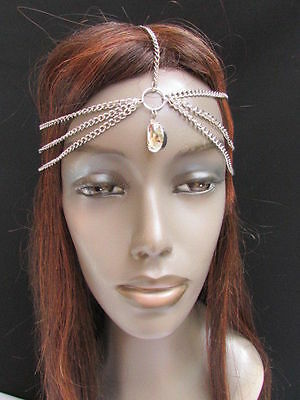 NEW WOMEN SILVER HEAD METAL CHAIN FASHION JEWELRY GRECIAN CIRCLET SILVER BEADS