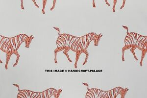 Hand Block Print Indian Horse Fabric By The Yard Running 100 Cotton