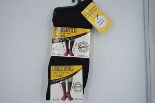 NEW 3 PAIRS OF DIABETIC FRIENDLY STAY UP BLACK SOCKS 99/% COTTON SIZE UK 6-11