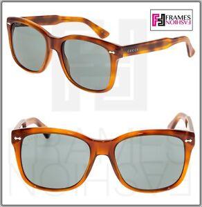 ef5c4d49574 Image is loading GUCCI-0050-Classic-Square-Blonde-Havana-Green-Sunglasses-