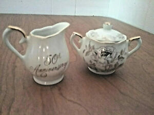 Vtg-Norcrest-50th-Anniversary-Fine-Porcelain-Sugar-Bowl-amp-Creamer-Japan