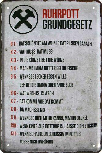 Ruhrpott loi fondamentale Pott patrie pote deco en tôle bouclier Poster Affiche a0202
