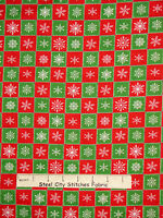 Christmas Fabric - White Snowflakes Red Green Squares Holiday Vip Fabrics - 35