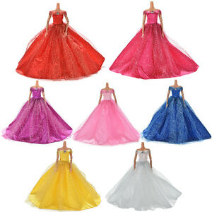 Wedding-Dress-For-Barby-Doll-Beautiful-Trailing-Skirt-7-Colors-Amazing-CXLODLK