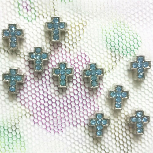 Mixed colour crystal cross floating charm DIY for glass living memory locket 10p