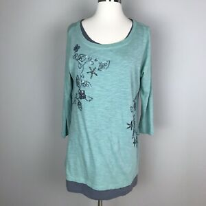 LOGO-by-LORI-GOLDSTEIN-Green-Gray-Beaded-Sequin-3-4-Sleeve-Floral-Tunic-Top-S