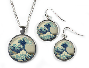 GREAT WAVE Hokusai Chain /& Earrings Picture Jewellery Set: Pendant