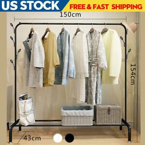 Garment-Rack-Single-Rail-Clothes-Drying-Hanger-W-Shelves-Closet-Organizer-Racks