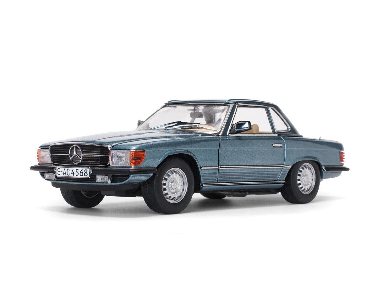 Mercedes-Benz 350 SL (R107) Hard Top 1977 Azul Metálico - 1 18 - Sun Estrella
