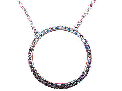 Judith Jack Sterling Silver Necklace Circle Pendant Marcasite 16 inch Chain 214h