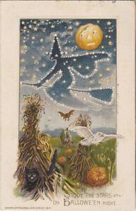 S21-1107-New-Price-Rare-Winsch-Halloween-Postcard-Witch-Flying-Cornfield-1913