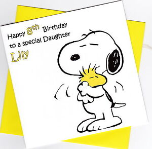 Image Is Loading Personalised Handmade Snoopy Birthday Card Son Daughter Brother