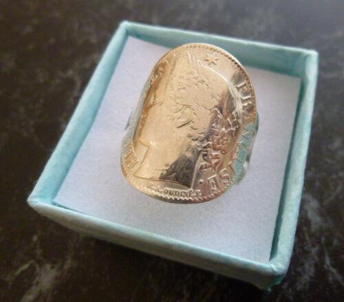 Bague pièce argent 1 franc Cérès cintrée  poinconnée 925 Taille 53 à 65