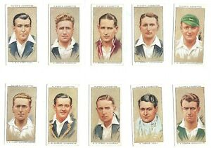 1934-Cricketers-England-Australia-cricket-Complete-Tobacco-Card-Set-50-cards-lot