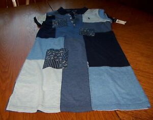 New-Polo-Ralph-Lauren-Dress-Girls-Blue-Patched-Patchwork-L-12-14