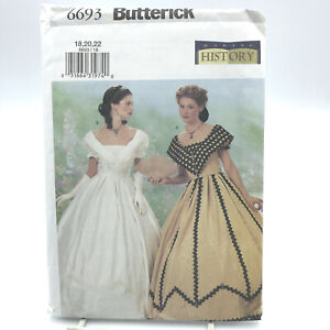 Details about Butterick 6693 Plus Size Making History Dress Civil War Era  Sz 18 22 Uncut