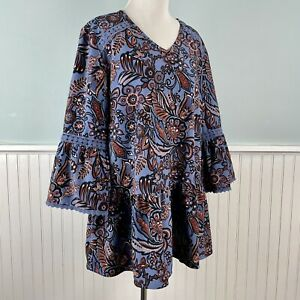 Size Large L D & Co Ruffled Paisley Boho Chic Lace Trim Peasant Top Shirt Blouse