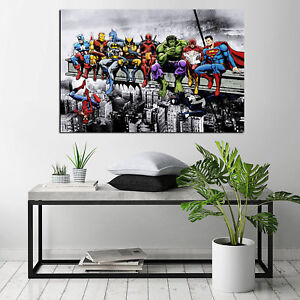 Marvel-and-DC-Superhero-Lunch-Atop-A-Skyscraper-HD-Print-on-Canvas-Oil-Painting