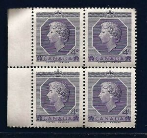 1953 CANADA Queen Elizabeth QE II Coronation postage stamp block MNH
