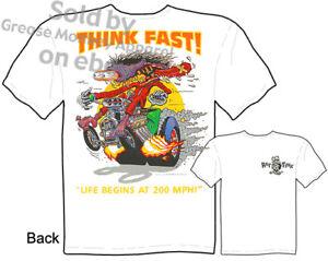 Ed-Roth-Rat-Fink-T-shirt-Big-Daddy-Apparel-Think-Fast-Hot-Rod-Sz-M-L-XL-2XL-3XL