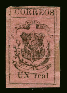 DOMINICAN-REPUBLIC-1867-COAT-OF-ARMS-Un-real-magenta-Sc-25-mint-MH-Very-RARE