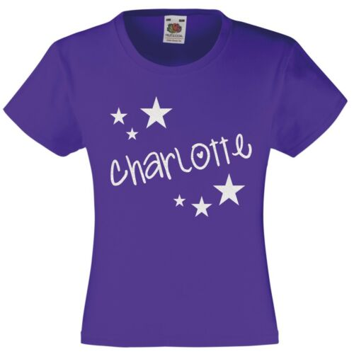 Girls Personalised Glitter Star T-Shirt 3-13 Years Customised Printed Name Top
