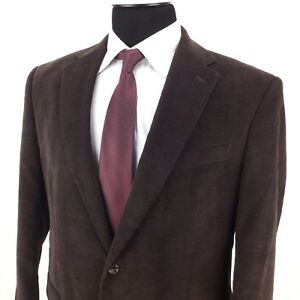 RALPH-LAUREN-Mens-41-42-Espresso-Brown-2-Button-Thin-Corduroy-Sport-Coat-Jacket