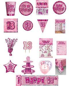 16 x Rose Gold 13 Napkins Girls 13th Birthday Party Tableware Supplies Glitz
