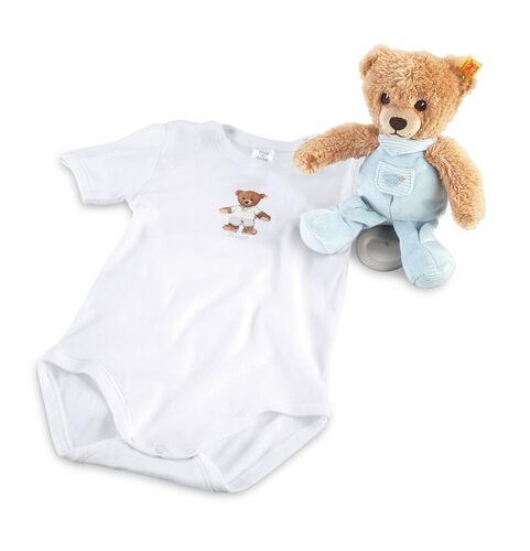 Steiff EAN 239762 DORMI BENE ORSO CARILLON BABY GIFT SET Boy Blu Bianco Nuovo