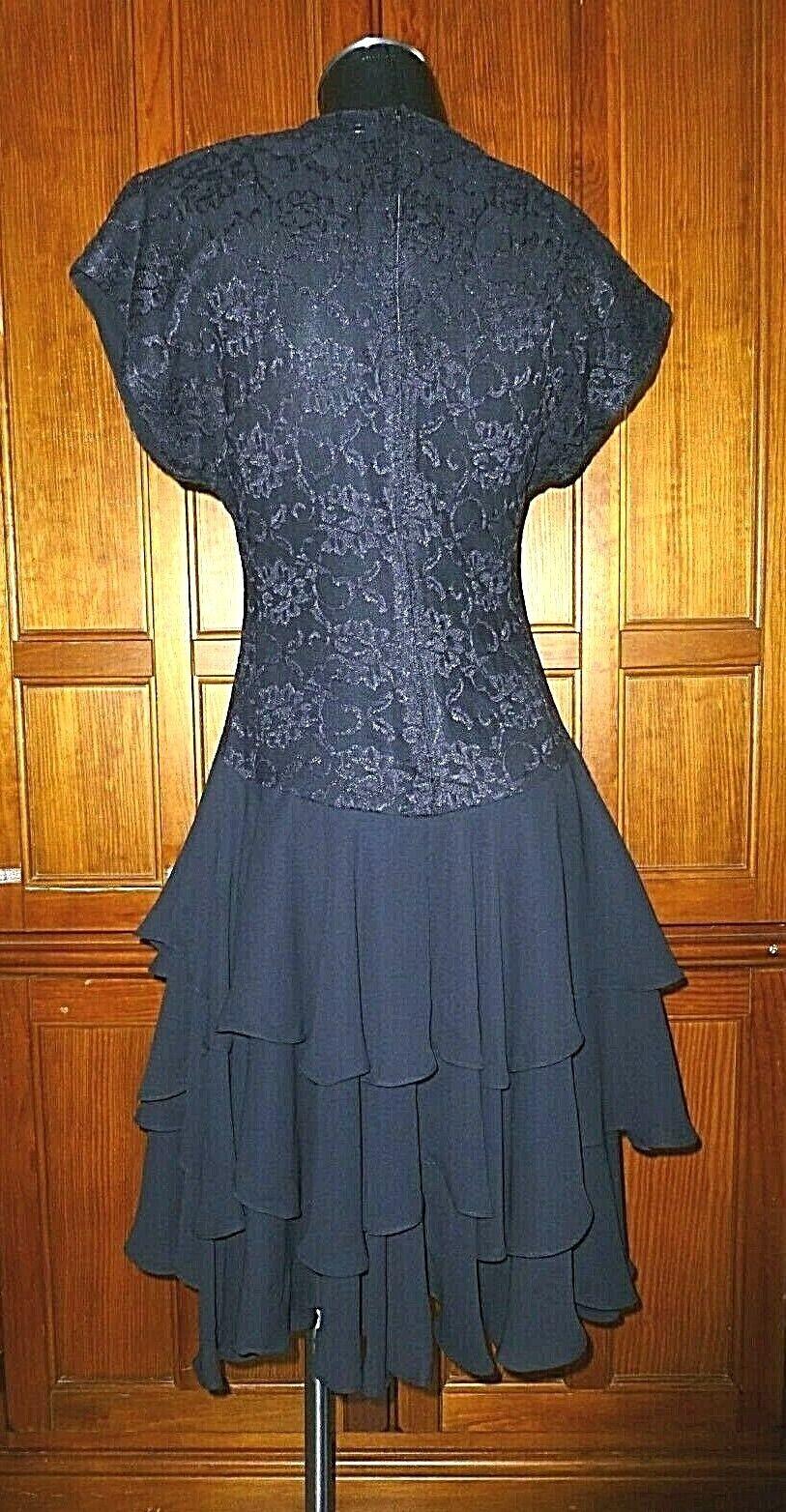 Vtg 80s Black Lace Chiffon Ruffle Evening Prom C… - image 7