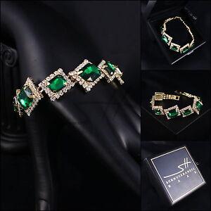 Edles-Armband-Bracelet-Noble-Green-Gelbgold-pl-Swarovski-Elements-Etui