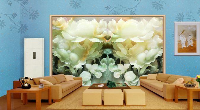 3D IL Bianco di Giada. Parete Murale Carta da parati immagine sfondo muro stampa