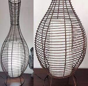 BALI BAMBOO WOOD RATTAN WICKER BOTTLE FLOOR DESK LAMP LIGHT BALINESE ...