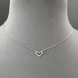 Fashionable trendy rhodium silver dainty simple heart shaped pendant image is loading fashionable trendy rhodium silver dainty simple heart shaped aloadofball Image collections