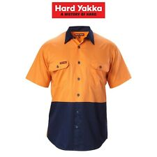 Hard Yakka Cotton Drill  Hi-Vis 2 Tone Short Sleeve Lightweight Shirt Y07991