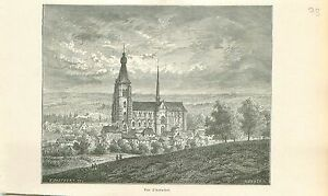 Panorama-Le-beguinage-Aerschot-Aarschot-GRAVURE-ANTIQUE-OLD-PRINT-1880