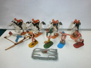Konvolut-10-alte-Hausser-Elastolin-Kunststoff-Sportler-Figuren-fuer-Spiel-zu-4cm