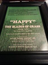 The Blades Of Grass Happy Rare Original Promo Poster Ad Framed!