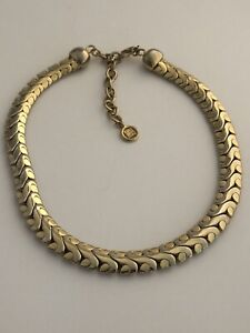 GIVENCHY-GOLD-TONE-HEAVY-WIDE-STYLIZED-SAN-MARCO-STYLE-CHAIN-CHOKER-NECKLACE