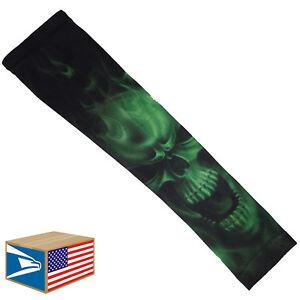 COMPRESSION ARM ELBOW SLEEVE Evil Skull Green Smoke BASKETBALL YS/YM/YL/S/M/L<wbr/>/XL