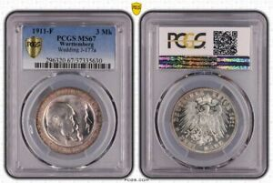 Württemberg 3 Mark 1911 F Wedding Brilliant Uncirculated PCGS Certified MS67