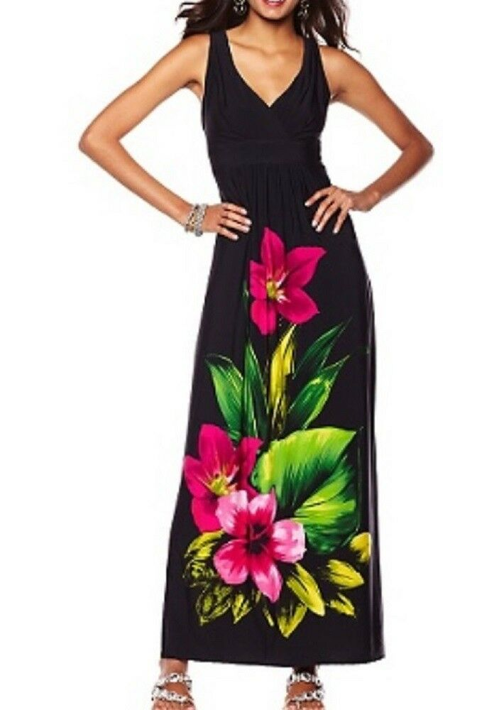 V-Neck Tropical Flower Print Placement Maxi Dress Ronni Nicole O-So-Slim  XS 0-4