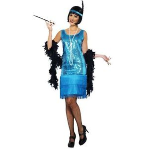 Adult-Ladies-20s-Gatsby-Flirty-Flapper-Girl-Teal-Blue-Fringe-Fancy-Dress-Costume