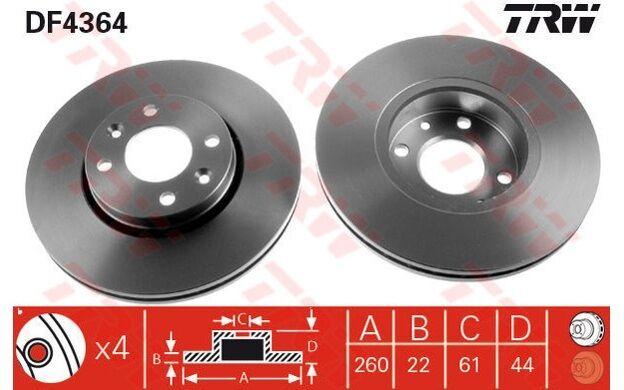 TRW Juego de 2 discos freno Antes 260mm ventilado RENAULT MEGANE CLIO DF4364