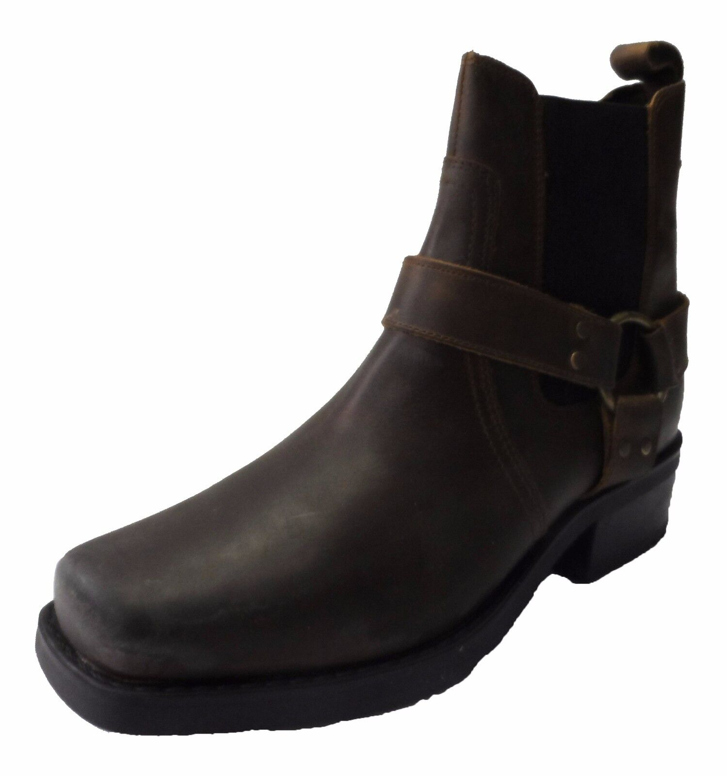 Brown Biker Style Waxy Leather Boots shoes Size