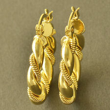 Yellow Gold Plated cute Twisted Womens small round Hoop Earrings childrens gift