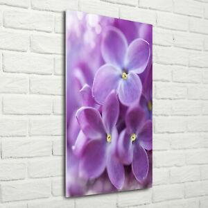 Wand-Bild-Kunstdruck-aus-Acryl-Glas-Hochformat-70x140-Lila-Blumen