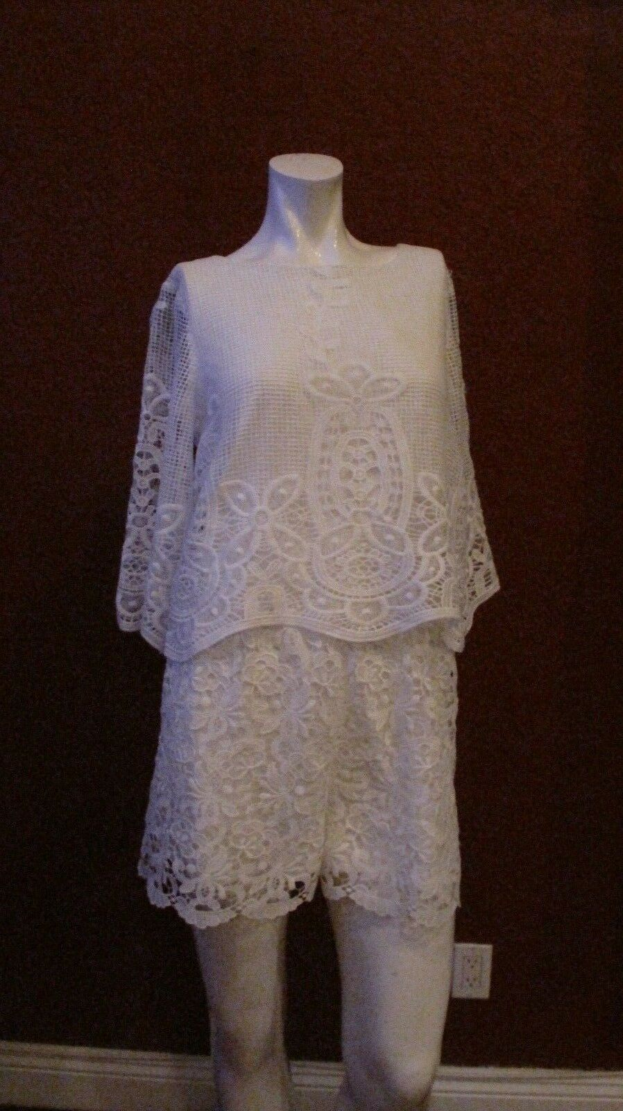 210 MUSE LACE ROMPER WHITE 3 4 SLEEVE SIZE 6