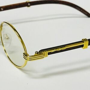 37856bfd895 Vintage Wood Buffs Migos Designer Eye glasses Oval Gold Frame Clear Lens  Glasses
