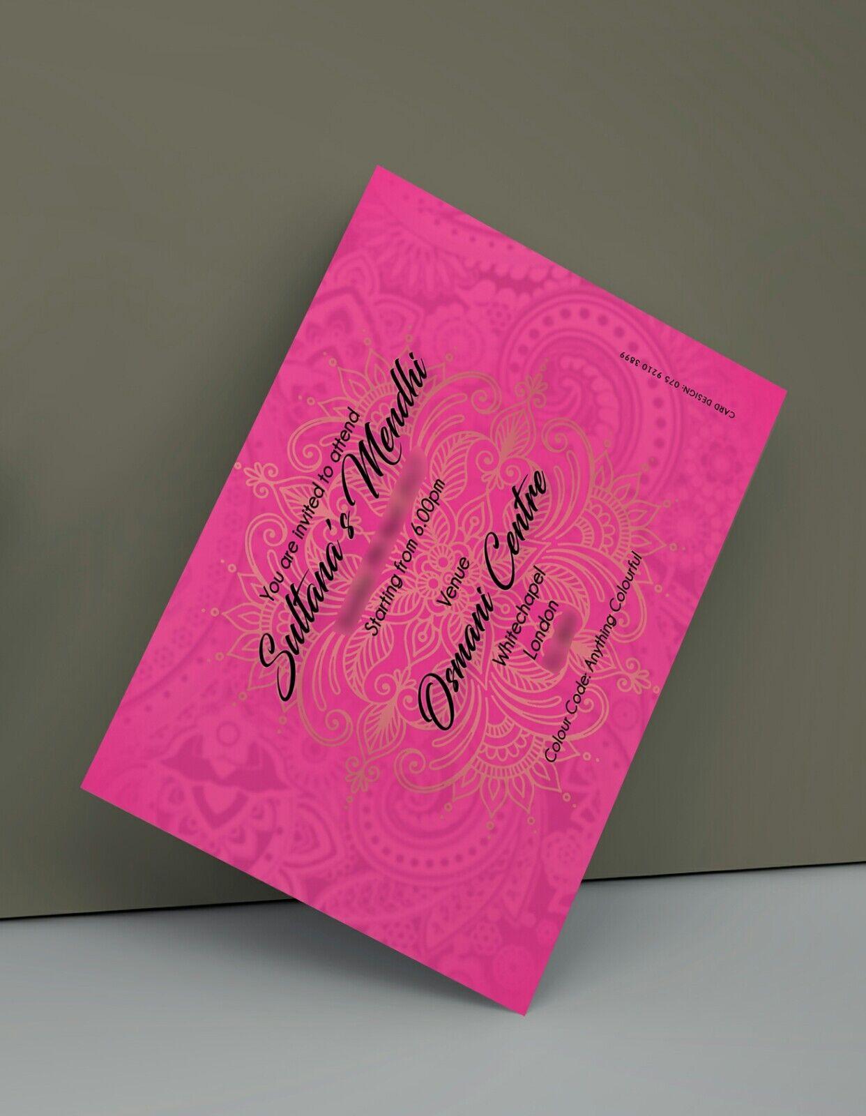 Mehndi MUBARAK Invito Invito Invito oro rosa biglietti d'auguri a doppia faccia 117377